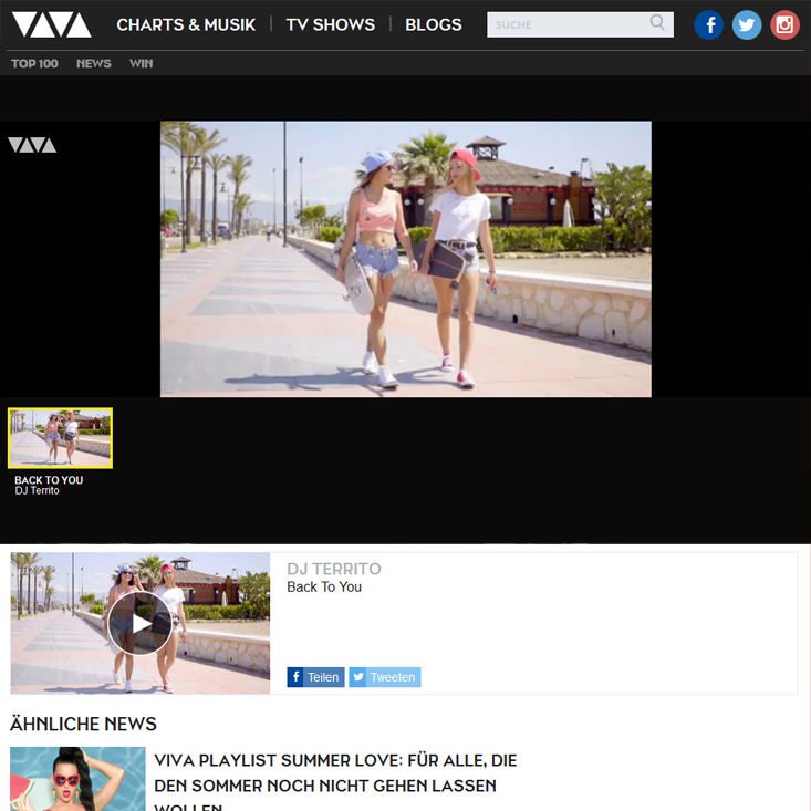 DJ Territo Back To You on VIVA.TV
